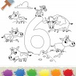 Collection Coloring Book for Kids: Number 6, Cows — Stock Vector #62097153