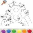 Collection Coloring Book for Kids: Number 8, Sheeps — Stock Vector #62097193