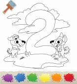 Collection Coloring Book for Kids: Number 2, Dogs — Stock Vector
