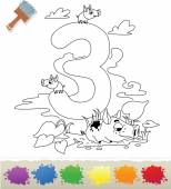 Collection Coloring Book for Kids: Number 3, Pigs — Stock Vector