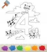 Collection Coloring Book for Kids: Number 4, Cats — Stock Vector