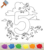 Collection Coloring Book for Kids: Number 5, Horses — Stock Vector