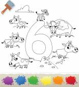 Collection Coloring Book for Kids: Number 6, Cows — Stock Vector