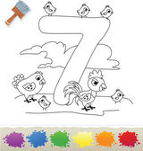 Collection Coloring Book for Kids: Number 7, Chikens — Stock Vector