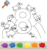 Collection Coloring Book for Kids: Number 8, Sheeps — Stock Vector