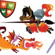 Funny Knight Riding a Horse and Cartoon Dragon — Stock Vector #62229523
