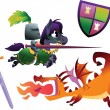 Funny Knight Riding a Horse and Cartoon Dragon — Stock Vector #62229541