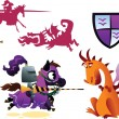 Funny Knight Riding a Horse and Cartoon Dragon — Stock Vector #62229547