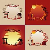 Set of Abstract japanese background - Vector illustrations — Stock Vector