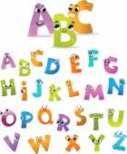 Alphabet for the kids: funny letters cartoon — Vetor de Stock