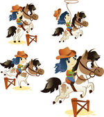 Collection of Cowgirl on Small Horse: Image Isolated on White Ba — Stock Vector