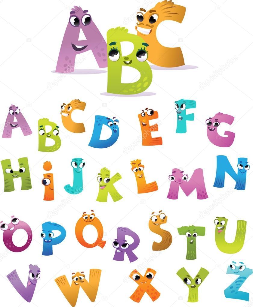 alfabeto para ni os dibujos animados de letras divertidas