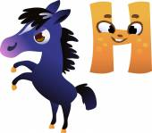 "Vector Animal Alphabet for the Kids: Letter ""H"" horse — Stock Vector"