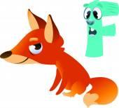 Ζώων αλφάβητο για τα παιδιά: F για την αλεπού — Διανυσματικό Αρχείο