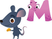 Animal alphabet for the kids: M for the Mouse — Stockvector