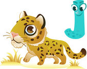 Animal alphabet for the kids: J for the Jaguar — Wektor stockowy
