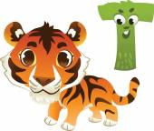 Animal alphabet for the kids: T for the Tiger — Stock Vector