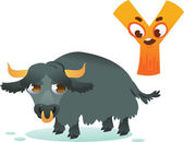 Animal alphabet for the kids: Y for the Yak — Wektor stockowy