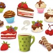 Set of cakes and other sweet food, isolated on white background — Stock Vector #75586189