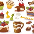 Set of cakes and other sweet food, isolated on white background — Stock Vector #75586209