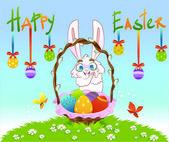 White rabbit with eggs. Vector illustration — Stockvector