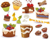 Set of cakes and other sweet food, isolated on white background — Stock Vector