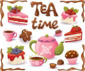 Tea Time set. Cakes and other sweet food, isolated on white back — Stock Vector