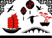 Set of chines symbols — Stock Vector