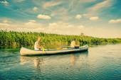 Canoeing on a beautiful river — Stock Photo