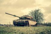Tank on a field — Stock Photo