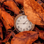 Clock in the autumn — Stock Photo #67818799