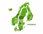 Scandinavia map in green — Stock Vector