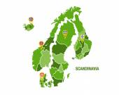 Scandinavia map with flags — Stock Vector
