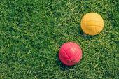Boccia garden game on the lawn — Stock Photo