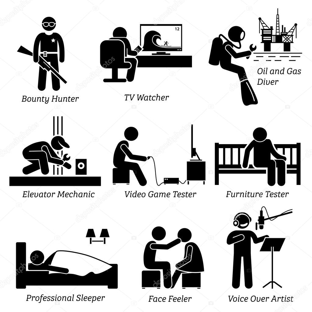 weird unusual odd job bounty hunter tv watcher oil and gas vector set stick figure pictogram representing weird and unusual jobs vector by leremy