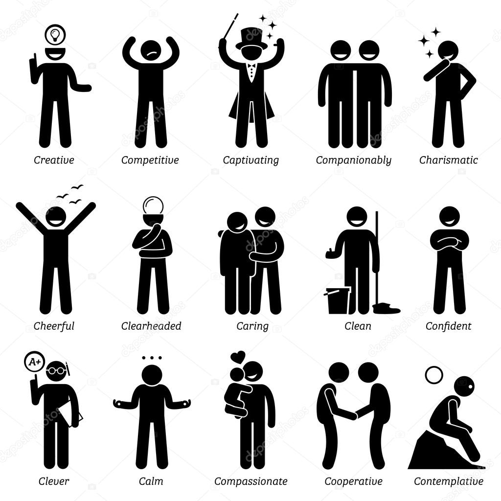 positive personalities character traits stick figures man icons positive personalities character traits stick figures man icons starting the alphabet c