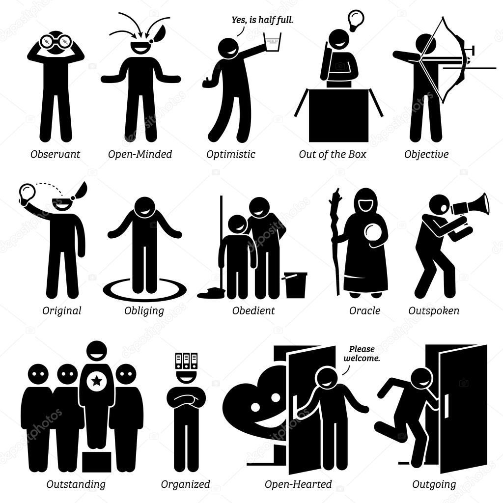 positive personalities character traits stick figures man icons positive personalities character traits stick figures man icons starting the alphabet o