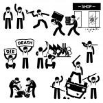 Riot Rebel Revolution Protesters Demonstration Stick Figure Pictogram Icons — Stock Vector #53180287