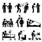 Virus Spread Diseases Transmission Infections Ways Stick Figure Pictogram Icons — Stok Vektör