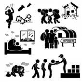 Refugees Evacuee War Stick Figure Pictogram Icons — Stok Vektör