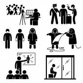 Control Diseases Virus Transmission Outbreak Stick Figure Pictogram Icons — Stok Vektör
