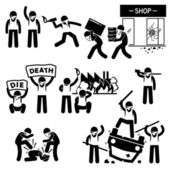 Riot Rebel Revolution Protesters Demonstration Stick Figure Pictogram Icons — Stok Vektör
