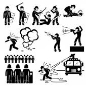 Riot Police Stick Figure Pictogram Icons — Wektor stockowy