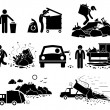 Постер, плакат: Rubbish Trash Garbage Waste Dump Site Stick Figure Pictogram Icons