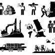 Timber Logging Worker Deforestation Stick Figure Pictogram Icons — Stock Vector #53778293
