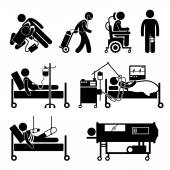 Life Support Equipments Stick Figure Pictogram Icons — Stock Vector