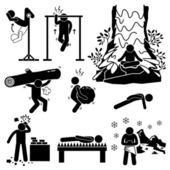 Hermit Extreme Physical and Mental Training Stick Figure Pictogram Icons — Stock Vector