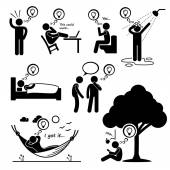 Man Thought of New Idea Stick Figure Pictogram Icons — Vector de stock