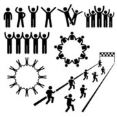 People Community Welfare Stick Figure Pictogram Icons — Stock vektor