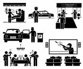 Luxury Services First Class Business VIP Stick Figure Pictogram Icons — Stock Vector